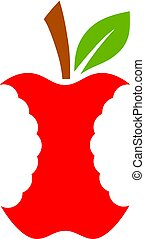 vettore, ceppo, mela, icona