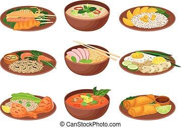 vettore, ceramica, illustrazione, piastre, tailandese,...