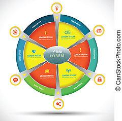 vettore, cerchio, concetto, torta, affari