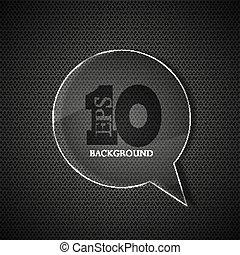vettore, cerchio, vetro, bolla, discorso, su, metallo, fondo., eps10