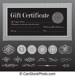 vettore, certificato, nero, set