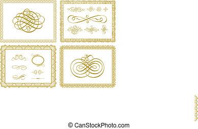 vettore, certificato, profili di fodera, e, ornamenti