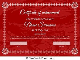 vettore, certificato, sagoma, in, rosso, colori, con, bianco, testo