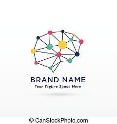 vettore, cervello, disegno, logotipo, digitale, concetto