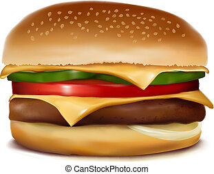 vettore, cheeseburger., illustration.