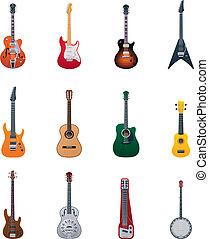 vettore, chitarre, icona, set