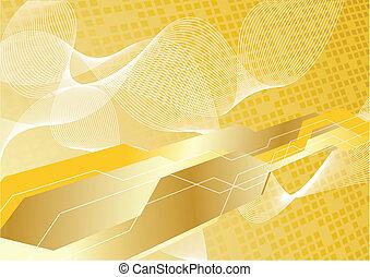 vettore, ciao-tecnologia, fondo, in, oro, colorare