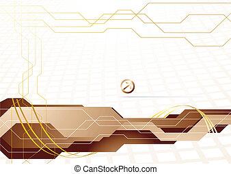 vettore, ciao-tecnologia, sagoma, in, oro, colorare