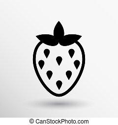 vettore, cibo, illustrazione, fragole, logotipo, monocromatico
