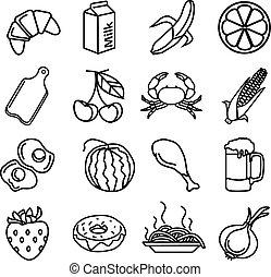 vettore, cibo, nero, icone, set