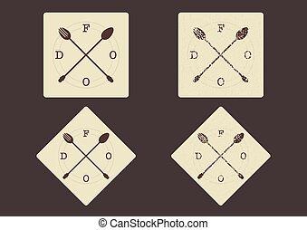 vettore, cibo, segno, –, attraversato, forchetta, e, cucchiaio