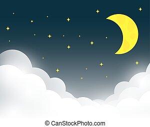 vettore, cielo, fondo, notte