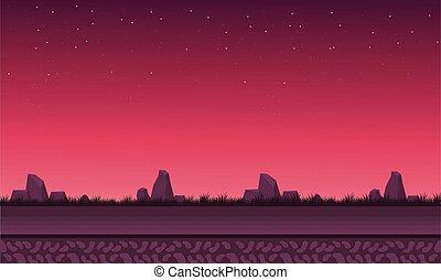 vettore, cielo, rosso, paesaggio, roccia