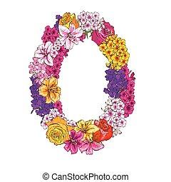 vettore, cifra, fatto, colorito, alfabeto, differente, illustrazione, elemento, flowers., zero, floreale