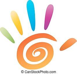 vettore, cinque, dita, icona, mano