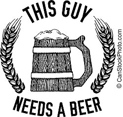 vettore, circa, birra chiara, birra chiara, citazione,...