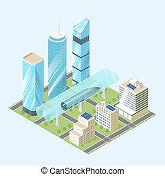 vettore, city., moderno, illustrazione