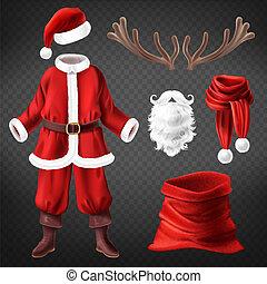 vettore, claus, accessori, costume santa
