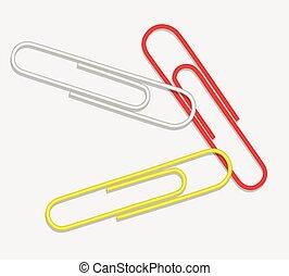 vettore, clip, giallo, carta, bianco rosso