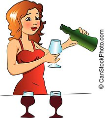 vettore, colatura, donna, vetro., vino