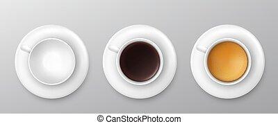 vettore, collection., assortimento, tazza, vista, cima, caffè, illustrazione