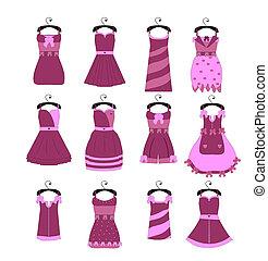 vettore, collezione, di, moda, elegante, vestiti, per, ragazza