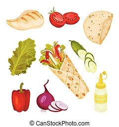 vettore, collezione, doner, kebab, ingredienti, set., fastfood, menu