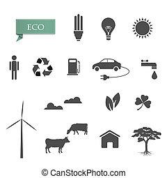 vettore, collezione, eco-icons
