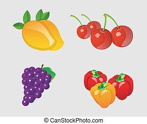 vettore, collezione, frutte