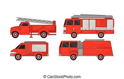vettore, collezione, motore, fuoco, emergenza, set., camion