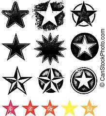 vettore, collezione, stelle, grafica