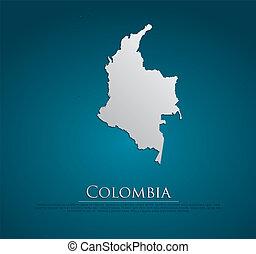 vettore, colombia, mappa, scheda, carta