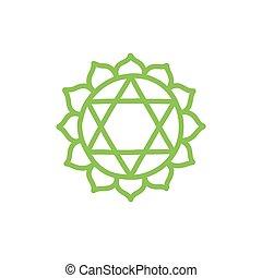 vettore, colorare, illustrazione, chakra, anahata, icona, scarabocchiare