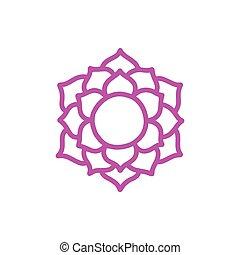 vettore, colorare, illustrazione, chakra, icona, sahasrara, scarabocchiare