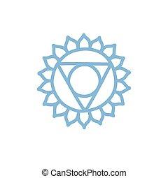 vettore, colorare, illustrazione, chakra, vishuddha, icona, scarabocchiare