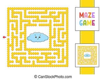 vettore, colorare, trovare, destra, gioco, kids., path., answer., style., cartone animato, puzzle, children., enigma, illustration., divertente, quadrato, maze., character., labirinto