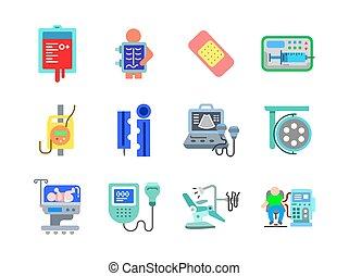 vettore, colorare, vol, 1, sanità, 3, stile, icone, medico, appartamento