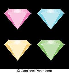 vettore, colorato, illustrazione, diamanti