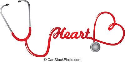 vettore, colore rosso stethoscope