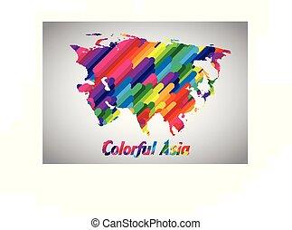 vettore, colorito, asia