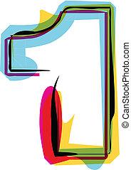 vettore, colorito, font., illustrazione