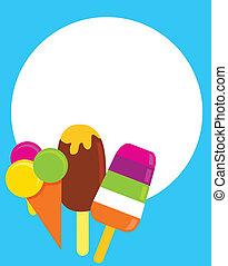 vettore, colorito, gelati, illustrazione