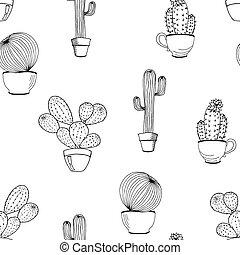 vettore, coloritura, fondo., modello, seamless, mano, pot., libro, fiore, disegnato, cactus, cartone animato, cactus., pagina
