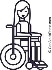 vettore, colpi, carrozzella, editable, illustrazione, segnale disabile, fondo, icona, ragazza, linea