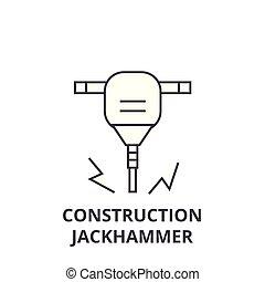 vettore, colpi, editable, illustrazione, segno, costruzione, icona, martello pneumatico, linea, fondo
