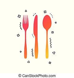 vettore, coltello, tablespoon., coltelleria, set., forchetta