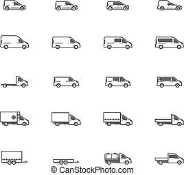 vettore, commerciale, trasporto, icone
