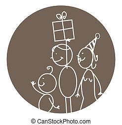 vettore, compleanno, felice