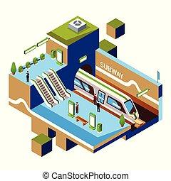 vettore, concept., stazione, isometrico, sottopassaggio