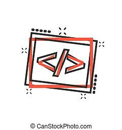 vettore, concetto, affari, api, aperto, concept., programmazione, effetto, illustrazione, cartone animato, fonte, schizzo, pictogram., programmatore, comico, tecnologia, style., icona